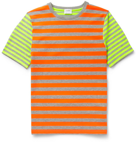 Jil Sander Fluorescent-Striped Crew Neck T-Shirt