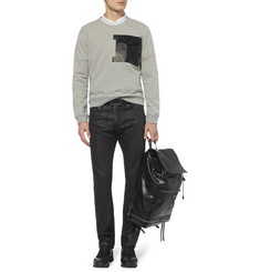 Balenciaga Slim-Fit Coated-Denim Jeans with Leather Waistband