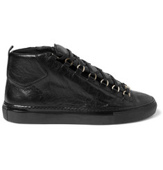 Balenciaga Arena Creased-Leather High Top Sneakers