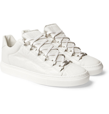 Balenciaga Arena Creased-Leather Low Top Sneakers