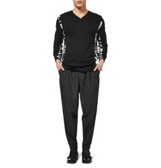 McQ Alexander McQueen Contrast-Side Wool and Cotton-Blend V-Neck Sweater