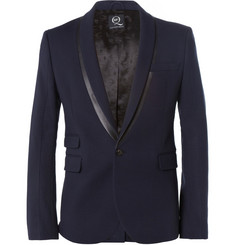 McQ Alexander McQueen Slim-Fit Faux Leather-Trimmed Textured Cotton-Blend Tuxedo Blazer