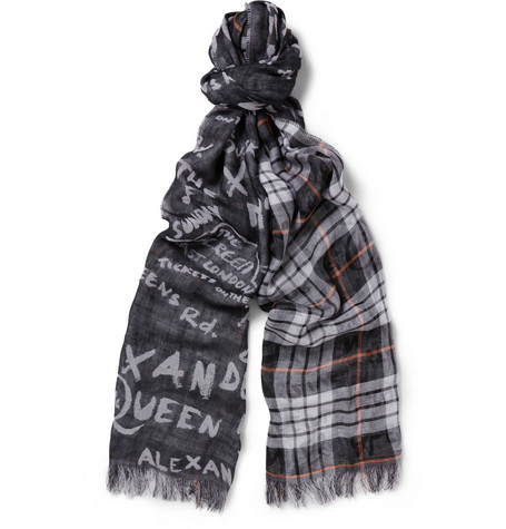 McQ Alexander McQueen Double-Sided Printed Cotton Scarf