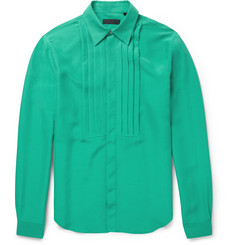 Burberry Prorsum Pleat-Front Silk Shirt