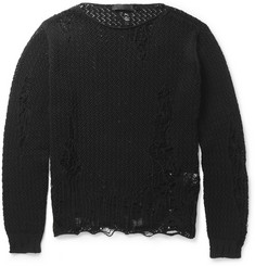Alexander McQueen Distressed Open-Knit Cotton Sweater