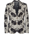 Alexander McQueen Slim-Fit Rose-Embroidered Cotton Blazer
