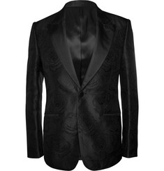 Alexander McQueen Slim-Fit Rose-Patterned Silk Blazer