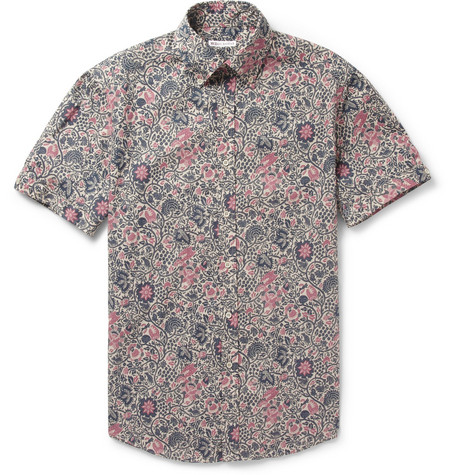 Michael Bastian Printed Cotton Short Sleeved Shirt