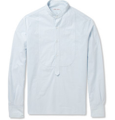 Michael Bastian Striped Half-Placket Cotton and Linen-Blend Shirt