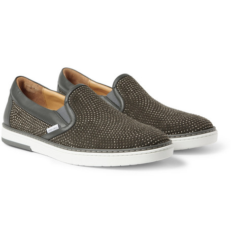 Jimmy Choo Grove Studded Suede Slip-On Sneakers