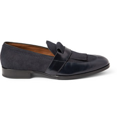 Jimmy Choo Radnor Suede and Leather Fringed Loafers
