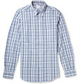 Aspesi Button-Down Collar Check Cotton Seersucker Shirt