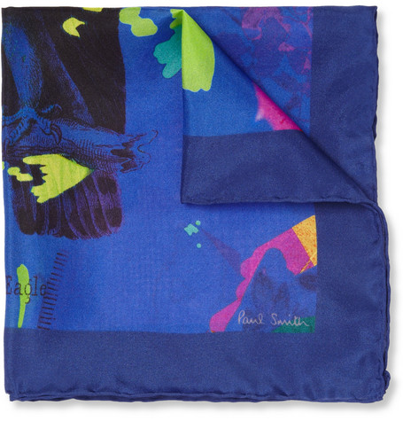 Paul Smith Shoes & Accessories Eagle-Print Silk Pocket Square