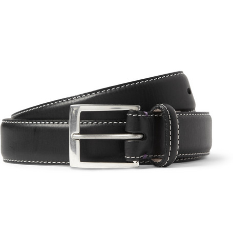 Paul Smith Shoes & Accessories Black 3cm Pin-Up Print-Lined Leather Belt