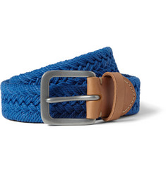 Paul Smith Shoes & Accessories Blue 3cm Leather-Trimmed Woven-Cotton Belt