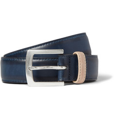 Paul Smith Shoes & Accessories Navy 3cm Burnished-Leather Belt