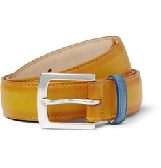 Paul Smith Shoes & Accessories Yellow 3cm Burnished-Leather Belt