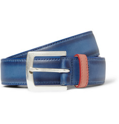 Paul Smith Shoes & Accessories Blue 3cm Burnished-Leather Belt