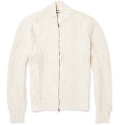 Acne Studios Zipped Ribbed Cotton Cardigan