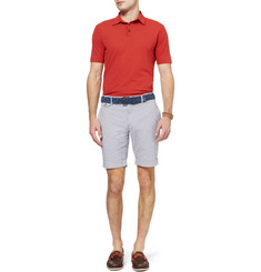 Incotex Slim-Fit Gingham Check Cotton-Blend Shorts
