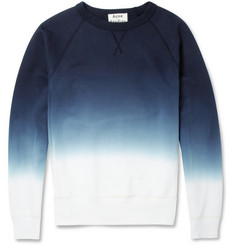 Acne Studios College Dip-Dye Loopback Cotton-Jersey Sweatshirt
