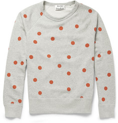 Acne Studios College Dot Printed Cotton-Jersey Sweatshirt