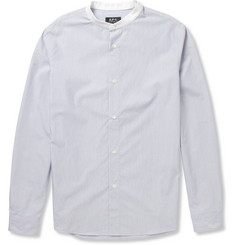 A.P.C. Striped Grandad-Collar Cotton Shirt