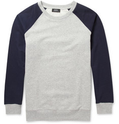 A.P.C. Contrast-Sleeve Loopback Cotton-Jersey Sweatshirt