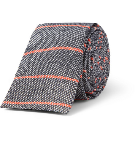 A.P.C. Striped Slub Woven-Silk Tie