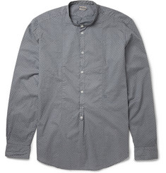 Massimo Alba Polka Dot-Print Cotton Grandad Collar Shirt