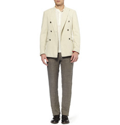 Massimo Alba Slim-Fit Houndstooth Check Linen Trousers