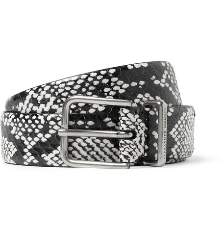Alexander McQueen Elaphe and Leather Belt