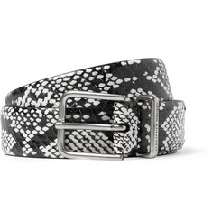 Alexander McQueen 3cm Elaphe and Leather Belt