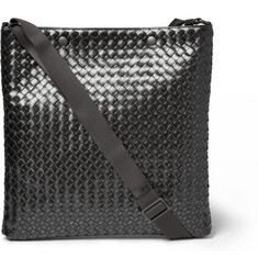 Bottega Veneta Intrecciato Metallic Burnished-Leather Messenger Bag