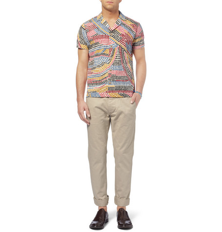 FolkSlim-Fit Printed Cotton Short Sleeve Shirt