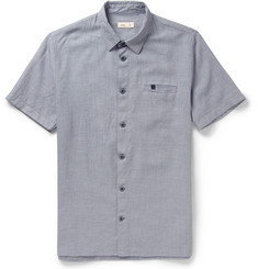 Folk Patterned Woven-Cotton Short-Sleeved Shirt