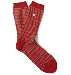 Folk Striped Knitted Cotton-Blend Socks