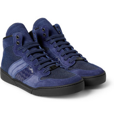Bottega Veneta Panelled Intrecciato High Top Sneakers