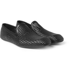 Bottega Veneta Woven-Leather Slippers