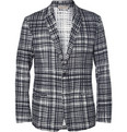 Bottega Veneta Unstructured Check-Print Linen-Blend Lightweight Blazer