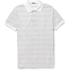 Bottega Veneta Check-Print Cotton-Piqué Polo Shirt