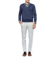 Loro Piana Cashmere and Silk-Blend V-Neck Sweater