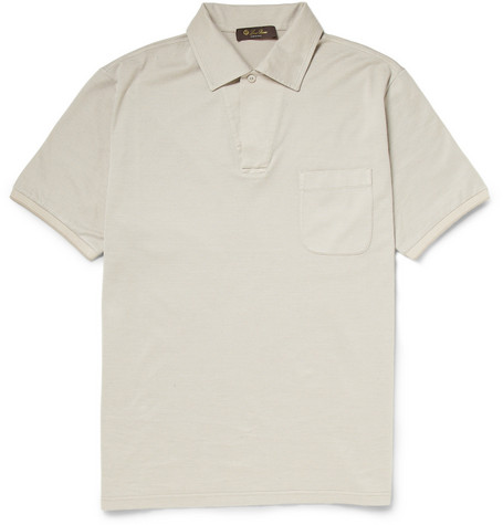 Loro Piana Silk and Cotton-Blend Piqué Polo Shirt