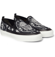 Alexander McQueen Skull-Print Canvas and Leather Slip-On Sneakers