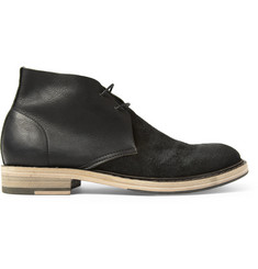 Acne Studios Pedro Leather and Burnished-Suede Desert Boots