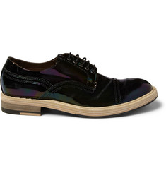 Acne Studios Askin Distressed Patent-Leather Derby Shoes