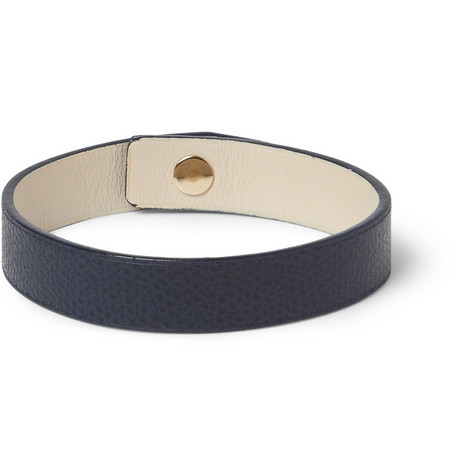 Valextra Cross-Grain Leather Bracelet