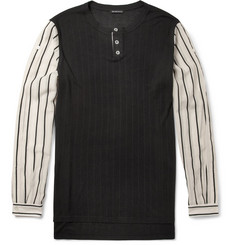 Ann Demeulemeester Ribbed-Jersey and Cotton-Blend Henley T-Shirt