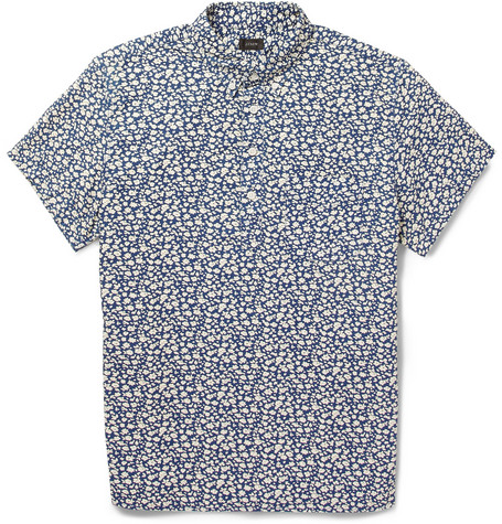 J.Crew Printed Short-Sleeved Cotton Shirt