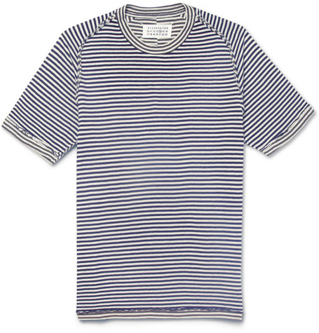 Maison Martin Margiela Reversible Striped Bonded Cotton-Jersey T-Shirt